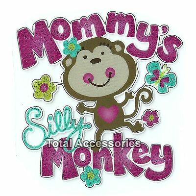 Mommy's Silly Monkey - Iron On T-Shirt Glitter Heat Transfer - NEW