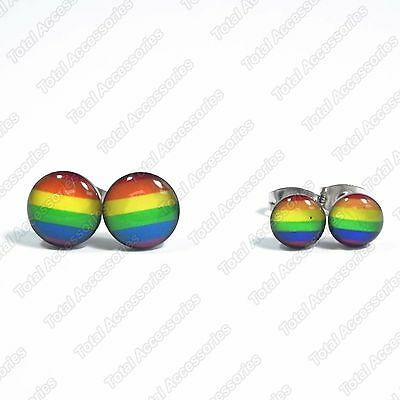 Rainbow Gay Pride LGBT Stainless Steel Stud Earrings - Mens Womens Fashion - New
