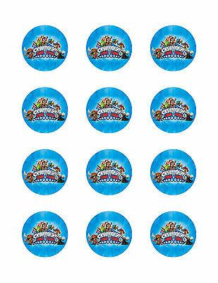 "SKYLANDERS TRAP TEAM CUPCAKE TOPPERS 12x2"" EDIBLE ICING PARTY DECORATION IMAGE"