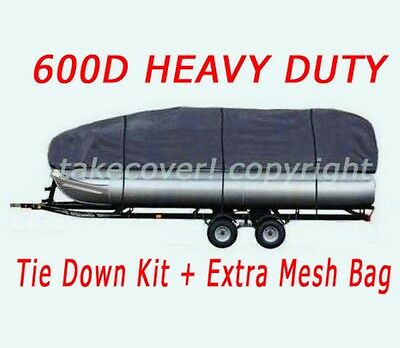 DELUXE 21' 22' 23' 24' 600D Universal Trailerable Pontoon Boat Cover