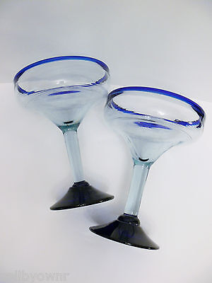 TWO Large Clear Margarita Glasses With Cobalt Blue Rim & Base Mexican Hand Blown