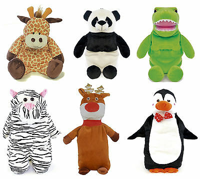 750ml Hot Water Bottle with Plush 3D Animal Cover ~ Panda, Giraffe or Dinosaur