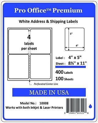 "PO08  4"" x 5"" Pro Office Self-Adhesive Address Label,Compare SDC-4650 FedEx"