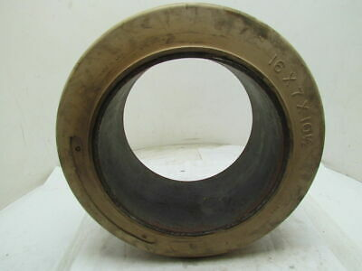 16x7x10-1/2 Smooth White Rubber Non-Marking Press-On Forklift Tire 16x7x10.5