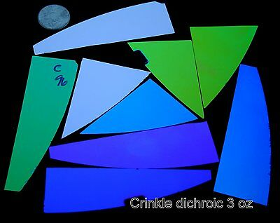COE 96 glass CBS crinkle dichroic jeweler's pack scrap 3 ounces remnant pieces