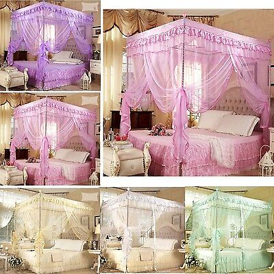 Romantic 4 corner post bed canopy mosquito twin sizes netting no
