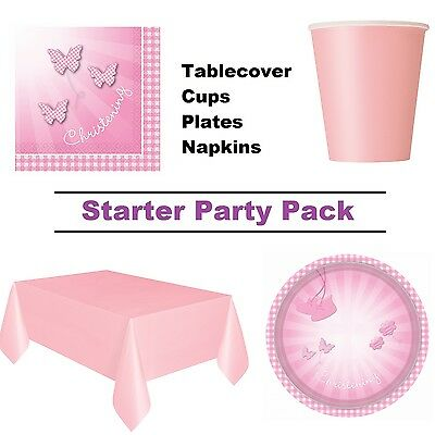 Pink Booties Christening 8 - 48 Guest Starter Party Pack - Cups, Plates, Napkins