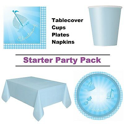 Blue Booties Christening 8-48 Guest Starter Party Pack - Cups, Plates, Napkins