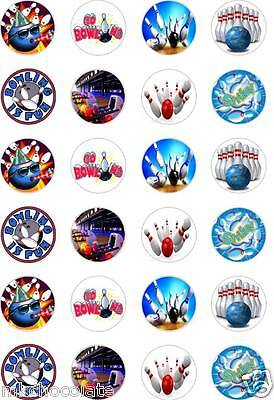 24 x PRECUT TEN PIN BOWLING/BALL/STRIKE RICE/WAFER PAPER CUP CAKE TOPPERS
