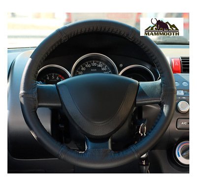 100% Natural Leather Steering Wheel Cover, Colour Black - Size S, 35 - 37 cm