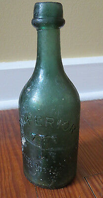 ANTIQUE TWITCHELL SODA MINERAL WATER BOTTLE w/ IRON PONTIL PHILADELPHIA 19th C