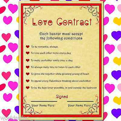 Love Contract - Personalised Valentines Gift For Her Or Him