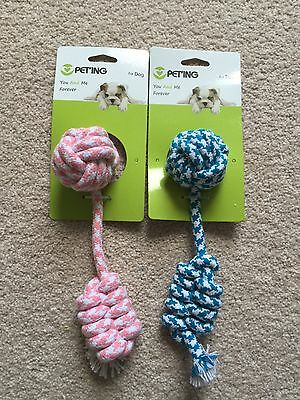 Dog Rope Chew Toy  Blue Or Pink 25Cm