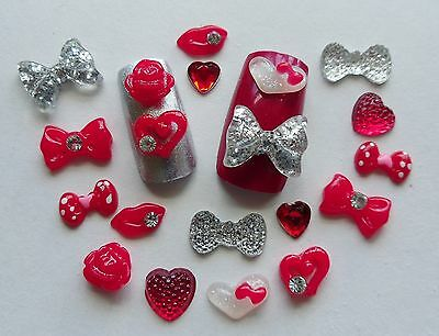 "20pc x 3D Nail Art Red ""Valentines Kisses"" Lips Roses Heart Rhinestone Bow Craft"