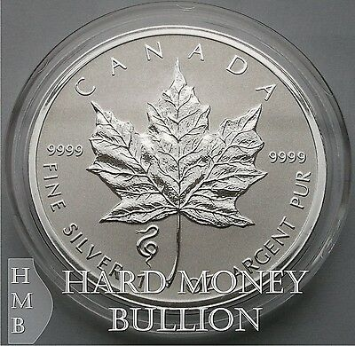 2013 1 oz BU Silver Canadian Maple Leaf Snake Privy Reverse Proof $5 Canada Coin