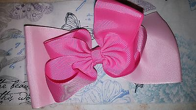 Large Pink Hair Bow with alligator clip.