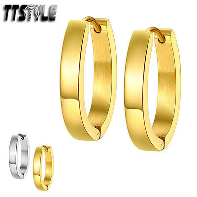 TTstyle Stainless Steel U Sharp Hoop Earrings Extra Large Silver/Gold NEW