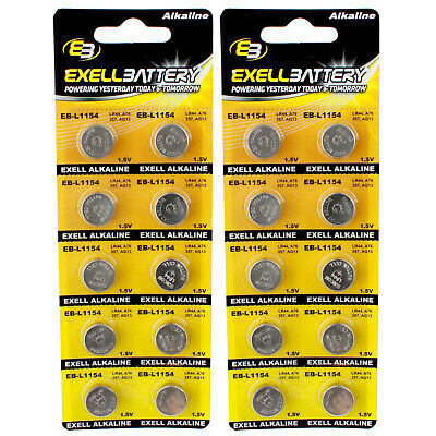 2pc 10pk Exell EB-L1154 Alkaline 1.5V Watch Battery Replaces AG13 357