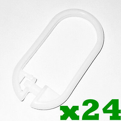 24 x WHITE Bathroom Bath Shower Curtain Rings Hooks Plastic Snap On Lock Clips