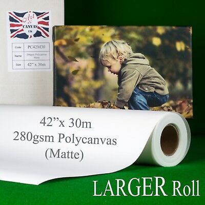 """42"""" x 30m 280gsm Inkjet Poly Canvas Roll Matte, Water Resistant, Brilliant White"""