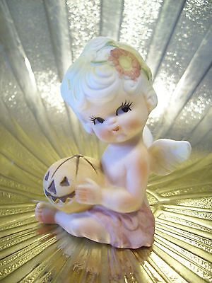 Very RARE VTG Pumpkin October Birthday Baby Angel Girl Figurine MINT ADORABLE!