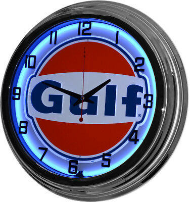 "Retro 17"" Blue Neon Gulf Oil Gas Service Station Garage Sign Man Cave Wall Clock"