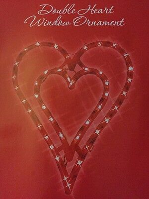 """17"""" Lighted Valentine's Day Hanging Double Red Heart Window Silhouette"""