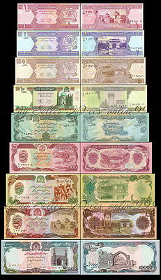 Set of 9Pcs Afghanistan 1+2+5+10+50+100+500+1000+10000 Afghanis Uncirculated