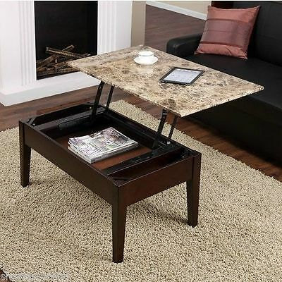 Faux Marble Lift Top Coffee Table Espresso Solid Wood with Storage Tray Wood NEW