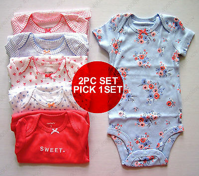 2pc Set carter's baby girl floral dot cherry short sleeve bodysuits one-piece