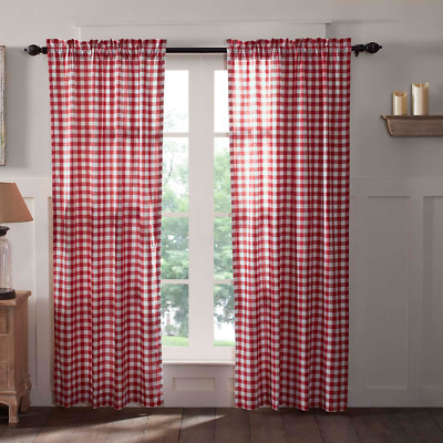 Buffalo Red Check Panel Set Country Primitive Lined Window Curtains Red Plaid