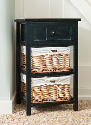Brand New Black Shabby Chic Tall Bedside Unit with Wicker Storage Drawers & BRAND NEW BLACK Shabby Chic Tall Bedside Unit with Wicker Storage ...