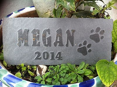 Carved slate Pet memorial plaque, dog, cat, personalised, Cornish Designer
