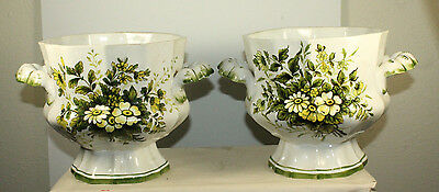 VINTAGE MADE IN  ITALY  VASE FLORAL 7'' X 7'' SIGNED