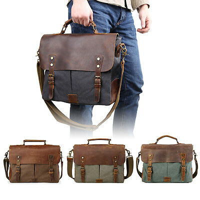 "Men's Leather Canvas Messenger Shoulder Bag Satchel 14"" Laptop Crossbody Bags"