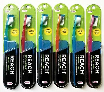 6 Reach Toothbrush Extra Clean FIRM Bristles Hard - FREE SHIPPING