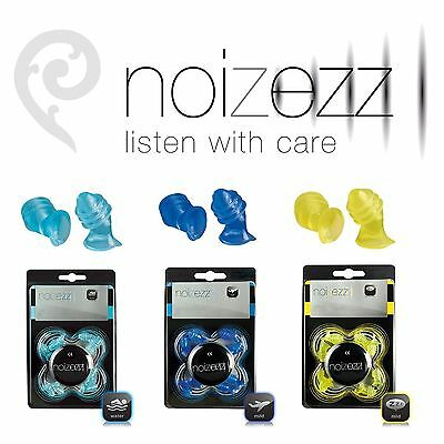 NOIZEZZ Comfortable Ear Plugs Travel Swimming Sleeping + Handy Tin inc 4 sizes