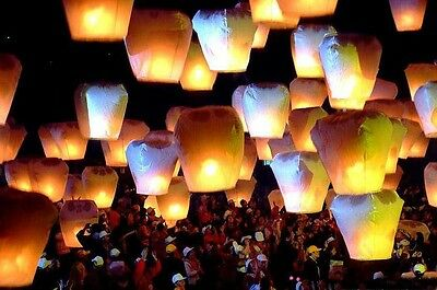 Wholesale White Flying Fire Sky Wish Chinese Paper Lantern Wedding Party