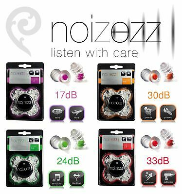 NOIZEZZ Reusable Ear Plugs 17bD 24dB 30dB 33dB Hearing Protection Safety S M LXL