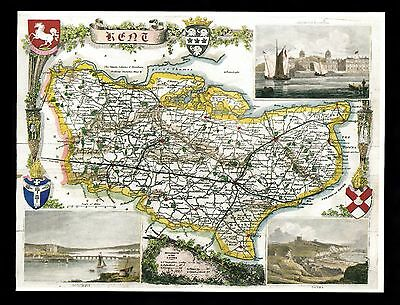 C. 1990s unused greetings card with map of Kent