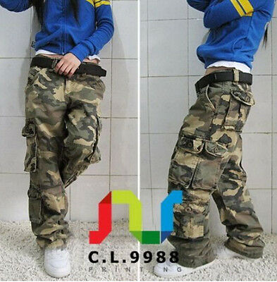 Hot Women/'s Military Army Green Cargo Pocket Pants Casual Outdoor Trousers B166