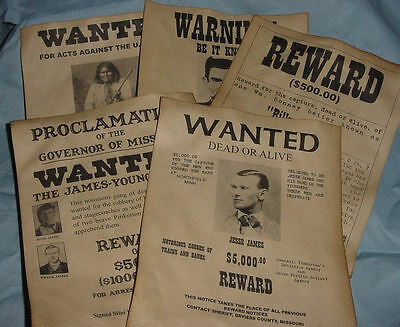 5 Old West Wanted Posters Outlaw Billy the Kid Jesse James Geronimo Doc Holliday