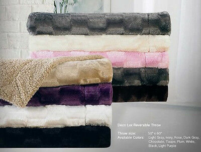Deco Luxury Faux Fur Sherpa Reversible Solid Throw Blankets Super Soft Blanket