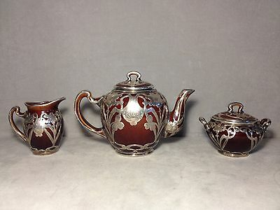 Rare Gorgeous Black, Starr & Frost Sterling Overlay 5 Pc. Pottery Tea Set