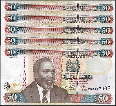 Kenya 50 Shillings X 5 Pieces (PCS), 2009, P-47d, UNC