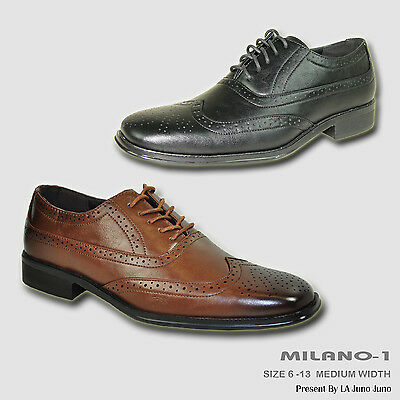 BRAVO New Men Dress Shoe MILANO-1 Classic Square Toe Wingtip Leather Lining
