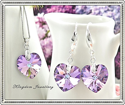 925 Sterling Silver Swan Heart Pendant Earrings Set made with Swarovski Crystals