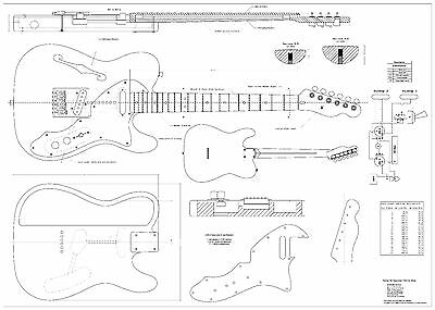Fender tele thinline 69 - Electric Guitar Plans full scale detailed technical