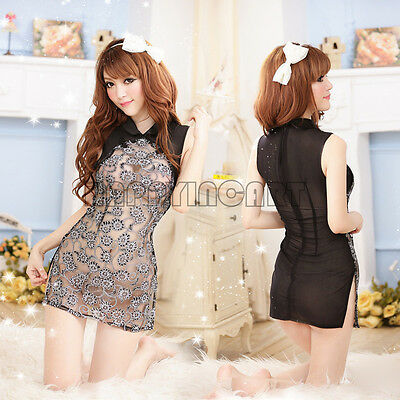 New Sexy Lingerie Classic Lace Cheongsam Dress Transparent Cosplay Costume Black