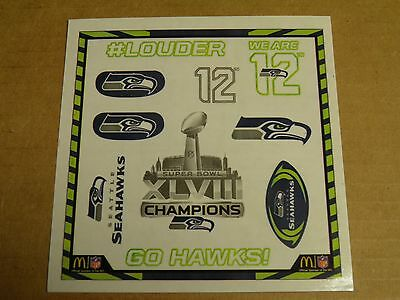 Seattle Seahawks waterless temp tattoos12th man NFL 48th win FAST 2 day shipping
